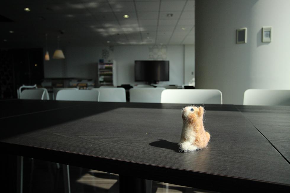 森タワー27階 Googleカフェテリアに佇むミニ菊之助