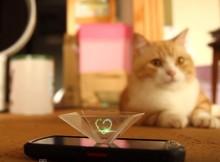 スマホで猫と楽しめる?お手軽3Dホログラムぐうたら夏休みの工作にマンチカン菊之助