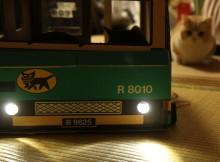 クロネコヤマト販売の、クール便用の段ボールケースを作ってみました、車輪付き、ライト付き、タイヤ付き